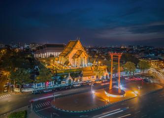 Wat Suthat and Sao Ching Cha (Giant Swing) during sunset (Bangko