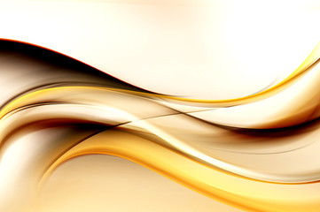 Wall Mural - Brown bright waves art. Blurred effect background. Abstract creative graphic design. Decorative fractal style.