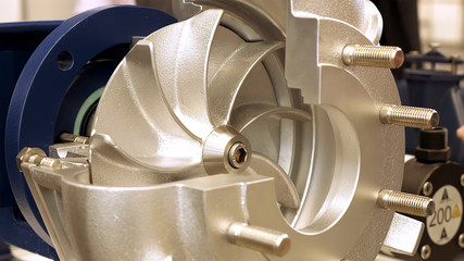 Rotor turbine circular electric pump for water or other liquid. Centrifugal pump for industrial water supply.