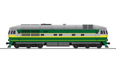 Locomotive. Mainline locomotive. Diesel. Railway train. vector