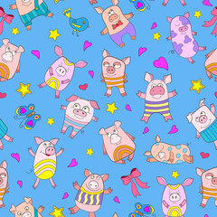Seamless pattern with funny cartoon pigs on a blue background