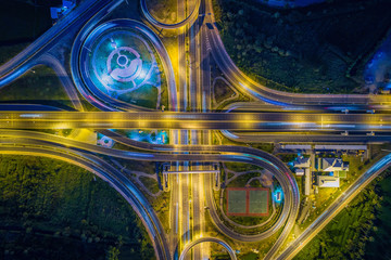 Aerial view Road roundabout with car lots in Thailand.street lar