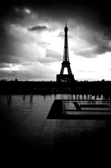 Art black and white photo of the Eiffel Tower of Paris