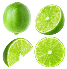 Collection of lime fruit isolated on white, clipping path