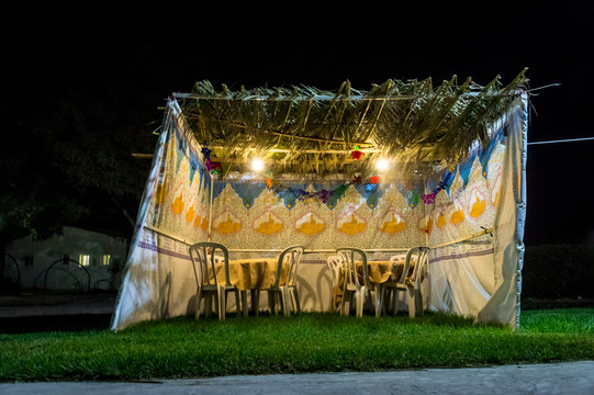 Sukkah - symbolic temporary hut for celebration of Jewish Holiday Sukkot