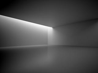 Empty Dark Room With Blank Frames Decorate Lights. Interior Background. 3d Render Illustration.