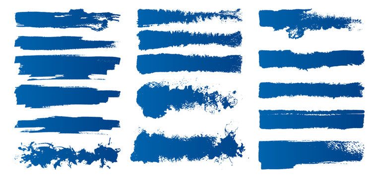 Set of hand-painted brush strokes. Blue watercolor stripes isolated on white background. Vector illustration.