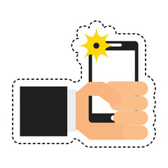 photo selfie with smartphone vector illustration design