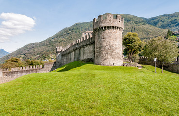 Tower of Montebello Castle in Belinzona, Ticino, Switzerland