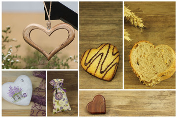 Wooden and biscuit hearts