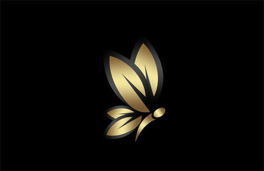 butterfly icon in gold color