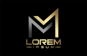 logo letter m in gold and metal color
