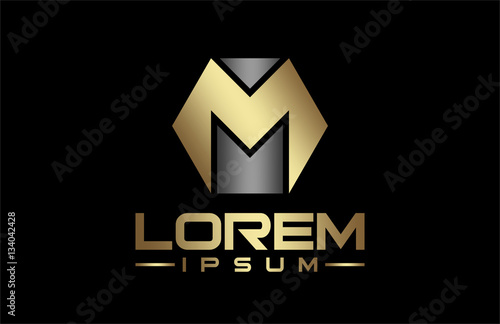 Logo Letter M Line In Gold Color Stock Image And Royalty Free