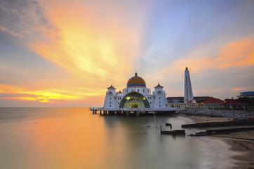 Malacca Straits Mosque, Malaysia at sunset.