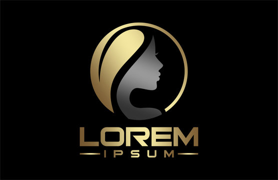 natural beauty salon hair treatment logo in gold and metal color