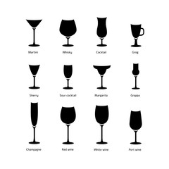Black & white vector silhouette glasses icon set for different a