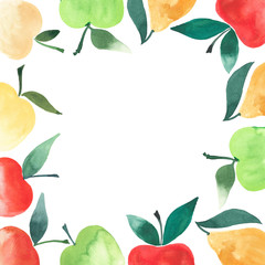 beautiful frame from apples and pears watercolor hand sketch