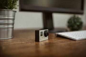 Gopro camera standing on desk