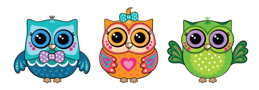 Set cute funny owls. Forest bird or animal. Decorative and style toy, doll. Wonderland. Magic, fabulous story. Isolated children's cartoon illustration, for print or sticker. White background. Vector.