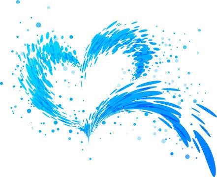 Aqua splash heart