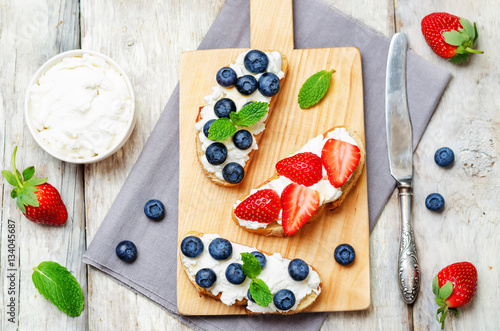 """Strawberry and blueberry ricotta sandwiches"" Stock photo ..."
