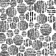 Abstract seamless pattern in black and white colors, vector illustration.