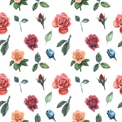 Seamless watercolor pattern with flowers and leaves, isolated on white background