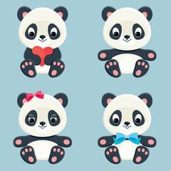 Panda characters icons set