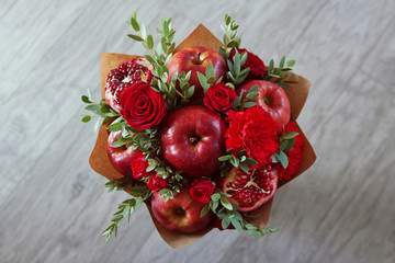 bouquet of fruit and flowers