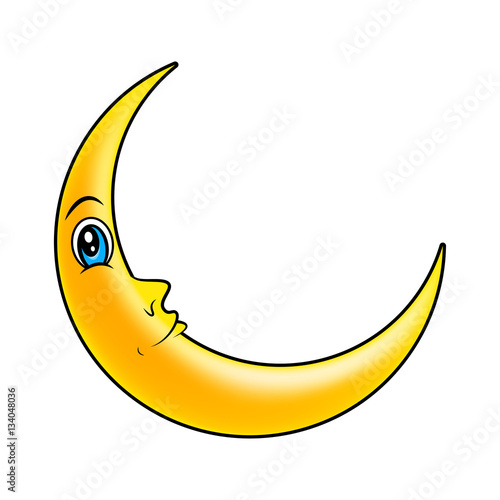 Cartoon Crescent Moon With Eyes Vector Symbol Icon Design Stock