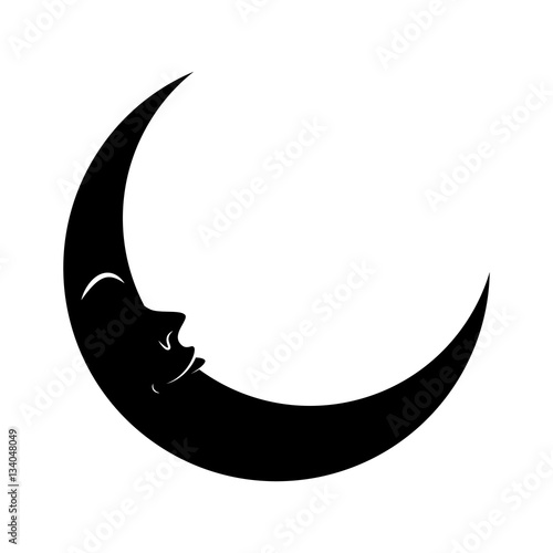 Quot Cartoon Crescent Moon With Eyes Silhouette Vector Symbol