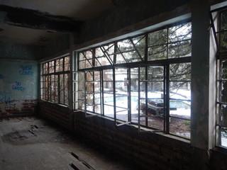 old hotel ruin in prodromos village in cyprus