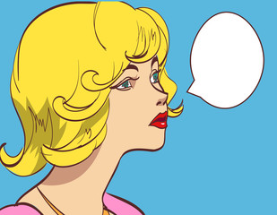 Vector colorful pop art drawing of beautiful woman with speech bubble. eps 10.
