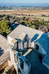 Panorama du sommet du donjon de l'Abbé dans l'Abbaye de Montmajour près d'Arles