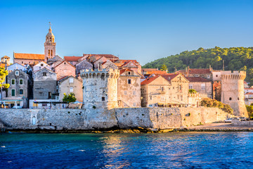 Korcula town. / Seafront view at old Korcula town, croatian travel places.