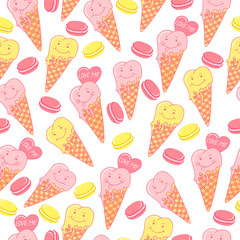 Candy seamless pattern with macaroons, ice cream, love, hearts, cookie on a white background.