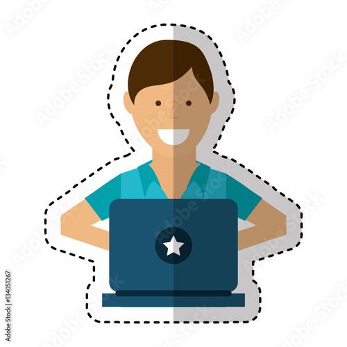 """""""person using computer icon vector illustration design ..."""