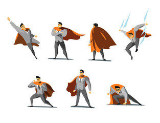 Vector illustration set of businessman Superhero actions, different poses
