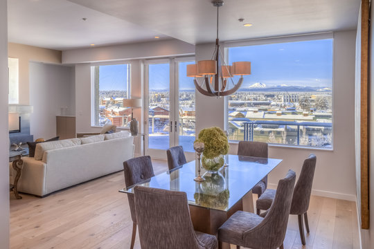 Dining Room Table with a City View