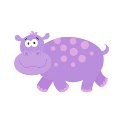 Cute  cartoon  hippo isolated  on white background.