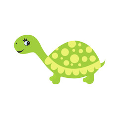 Cute cartoon turtle  isolated on white  background.