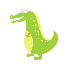 Cute cartoon  crocodile isolated on white  background.