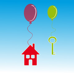 Home and key with balloon on blue background