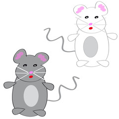 Two mouses on white background