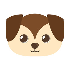 cartoon cute puppy dog big ears vector illustration eps 10