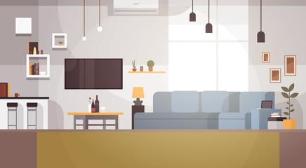 Modern Living Room Interior Empty No People House Flat Vector Illustration