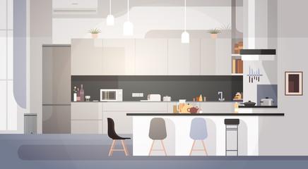 Modern Kitchen Interior Empty No People House Room Flat Vector Illustration