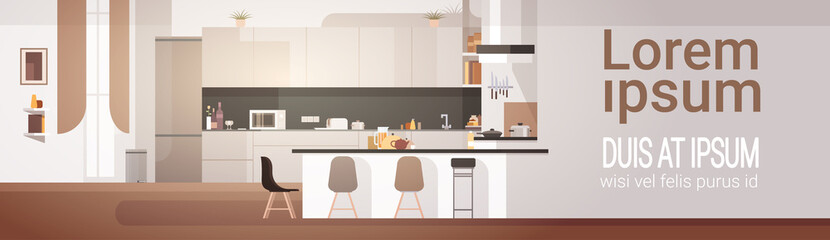 Modern Kitchen Interior Empty No People House Room Flat Vector Illustration