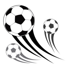 Isolated group of soccer balls on a white background, Vector illustration