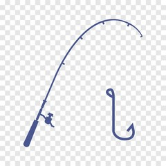 fishing rod and hook vector icon